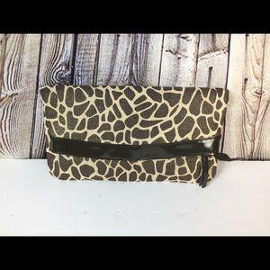 Authentic Danier Leather Clutch Giraffe Print